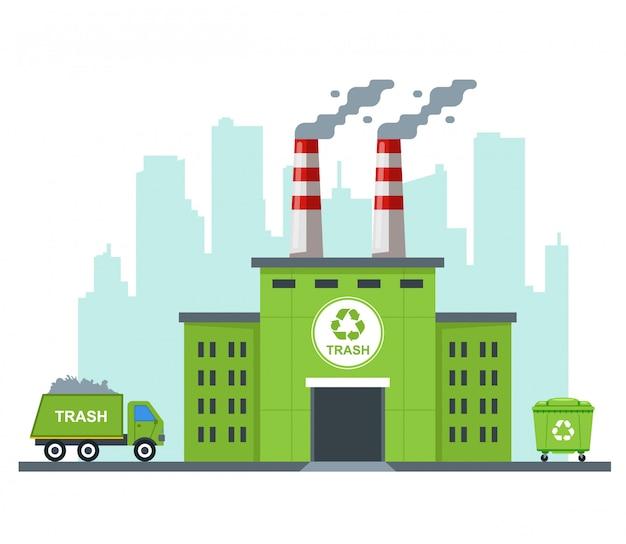 Zakład recyklingu śmieci ekologicznych. przewozić odpady ciężarówką. płaska ilustracja