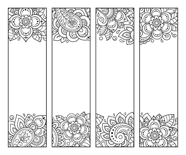 Zakładka do książki do druku - kolorowanka. zestaw czarno-białych etykiet z motywami kwiatowymi, ręcznie rysować w stylu mehndi. szkic ozdób dla kreatywności dzieci i dorosłych z kredkami.
