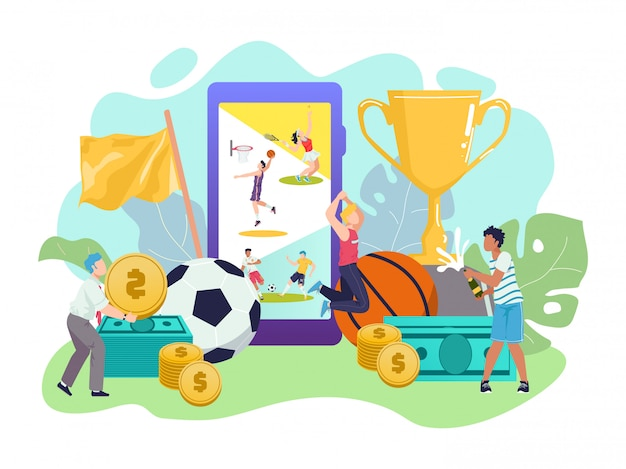 Zakłady sportowe, soccers, transmisje na żywo w aplikacji na smartfony i malutkie osoby świętujące wygraną po dokonaniu zakładów online na stronie bukmachera. zakłady sportowe, takie jak mecze piłki nożnej online.