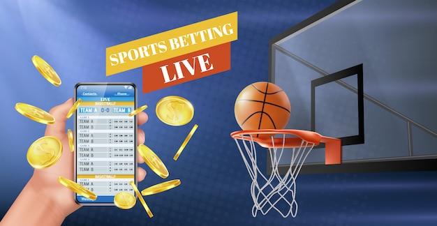 Zakłady sportowe wyniki na żywo aplikacja banner wektor