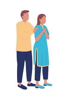 Zakłócony mąż i żona pół płaskie kolorowe postacie wektorowe