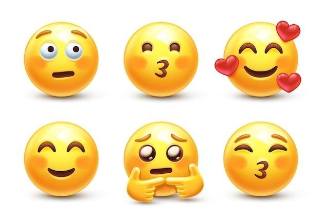 Zakłopotany stylizowany emoji 3d z zarumienionymi policzkami