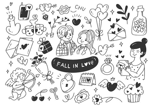 Zakochać się pary doodle ilustracja