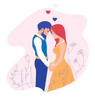 Zakochana para mężczyzna i kobieta delikatnie trzymają się za ręce