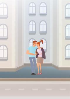 Zakochana para na ulicy miasta. młody człowiek dał dziewczynie swoją kurtkę. obejmujący kochanków. ilustracja.
