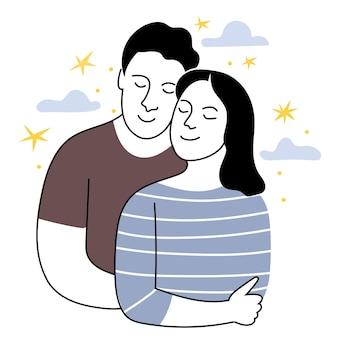 Zakochana para w stylu liniowymmężczyzna przytula kobietę delikatna monochromatyczna ilustracja data młoda dziewczyna