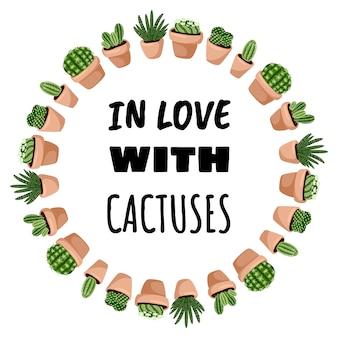 Zakochana w kaktusach pocztówka w stylu kreskówkowym, ładny ornament z wieńca. zestaw soczyste rośliny doniczkowe hygge.