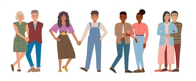 Zakochane pary. mężczyźni i kobiety chodzą razem, przytulając się i trzymając się za ręce. postaci z kreskówek na białym tle.