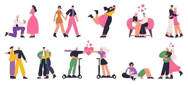 Zakochane pary, romantyczna randka, sceny oświadczyn. szczęśliwy mężczyzna i kobieta randki, przytulanie i chodzenie wektor zestaw płaski ilustracja. romantyczne pary. randka i miłość para, romantyczny mężczyzna i kobieta