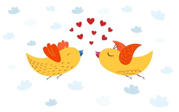 Zakochane ptaki na niebie z sercami