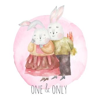 Zakochane słodkie króliczki, królik daje swojej dziewczynie bukiet marchewek, ilustracja dla dzieci na walentynki