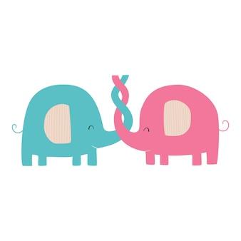 Zakochane słonie ładny wektor płaska ilustracja ze słoniami ilustracja kreskówka dla dzieci