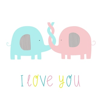 Zakochane słonie słonie z napisem kocham cię śliczna wektorowa płaska ilustracja ze słoniami