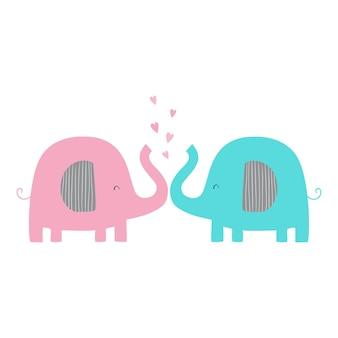 Zakochane słonie słonie z sercami płaska ilustracja wektorowa ładny ze słoniami