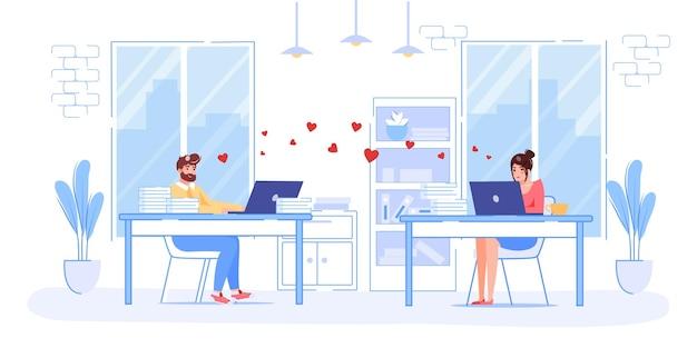 Zakochani młodzi ludzie rozmawiają online w walentynki
