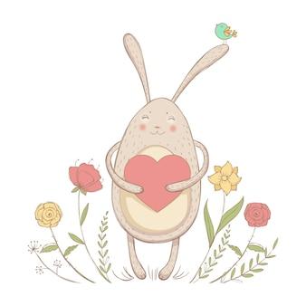 Zakochany królik z sercem na tle kwiatów wiosny