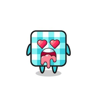 Zakochany wyraz słodkiego obrusu w kratkę z oczami w kształcie serca, ładny styl na koszulkę, naklejkę, element logo