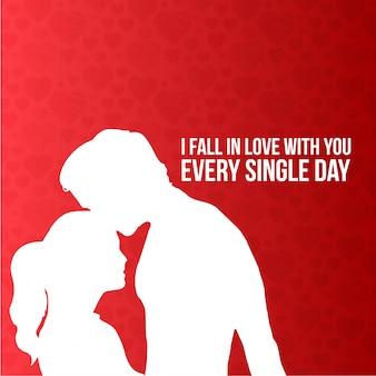 Zakochuję się w tobie każdego dnia typograficzną kartą