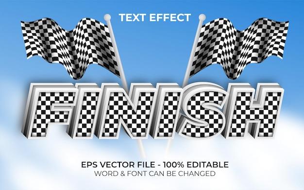 Zakończ efekt tekstowy styl wyścigu edytowalny efekt tekstowy