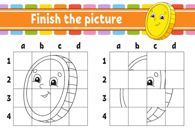 Zakończ zdjęcie. złota moneta. kolorowanki dla dzieci. arkusz rozwijający edukację.