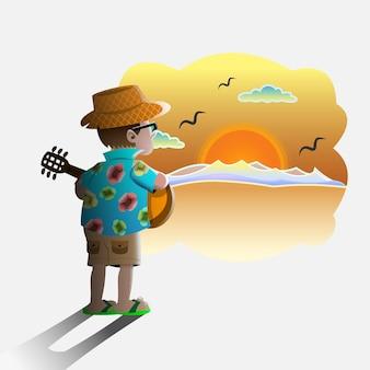 Zakończenie lata - człowiek gra na gitarze z widokiem zachodu słońca