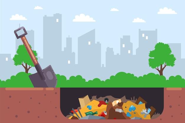 Zakopywanie miejskich śmieci w dole jest nielegalne. płaska ilustracja.