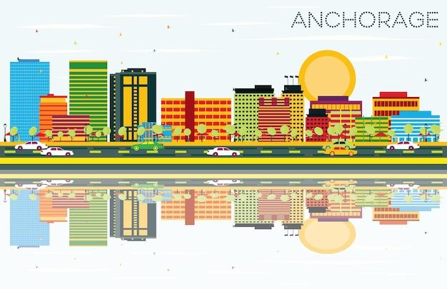 Zakotwicz panoramę z kolorowymi budynkami, błękitnym niebem i odbiciami. koncepcja podróży służbowych i turystyki. obraz banera prezentacji i witryny sieci web.