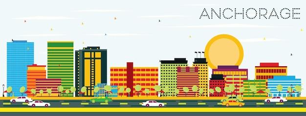 Zakotwicz panoramę z kolorowymi budynkami i błękitnym niebem. koncepcja podróży służbowych i turystyki. obraz banera prezentacji i witryny sieci web.