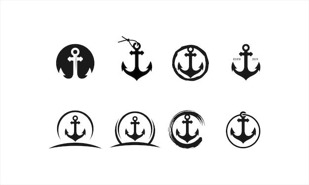 Zakotwiczona kolekcja kreatywnych projektów logo