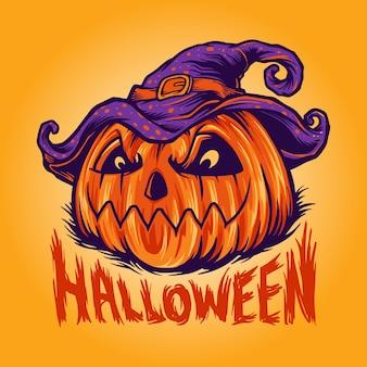 Zakręcony halloween dynia ilustracji wektorowych