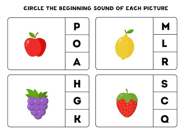 Zakreśl początkowy dźwięk każdego zdjęcia. gra edukacyjna dla dzieci.