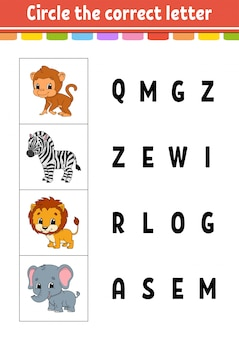 Zakreśl właściwą literę. zebra, małpa, lew, słoń. arkusz rozwijający edukację.