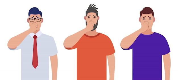 Zakrywający oddech dłonią dla nieprzyjemnego zapachu. mężczyźni trzymający palce na nosie. zestaw znaków
