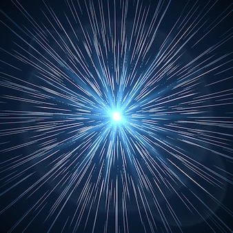 Zakrzywienie czasoprzestrzeni. promień gwiazdy supernowej. rozbłysk kosmicznej gwiazdy