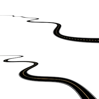 Zakrzywiona droga asfaltowa na białym tle