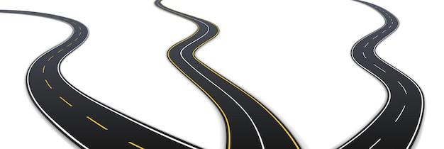 Zakrzywiona droga autostradowa ustawiona 3d realistyczna droga uliczna z czarnego asfaltu. nowoczesna kolekcja torów krętych na białym tle szablon. ilustracja wektorowa
