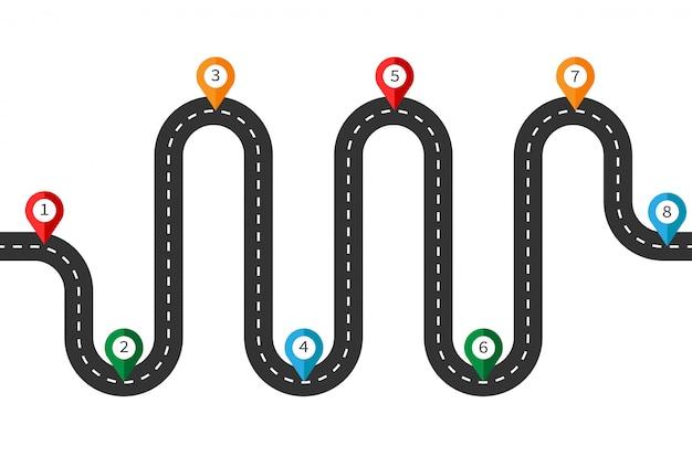 Zakrzywiona droga z białymi oznaczeniami i kolorowymi wskaźnikami. szablon plansza lokalizacji drogi sposób. widok z góry autostrady. ilustracja na białym tle.