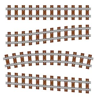 Zakrzywiona linia kolejowa, proste tory.