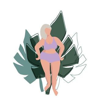 Zakrzywiona postać kobieca prosty minimalistyczny design z liśćmi roślin w tle