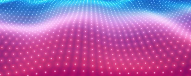 Zakrzywiona siatka big data w kolorze różowym i niebieskim