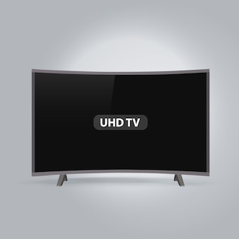 Zakrzywione inteligentne led serii uhd tv na białym tle na szarym tle
