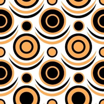 Zakrzywiony wzór koła w kolorach czarnym i żółtym do tapet retro i projektowania tekstyliów.