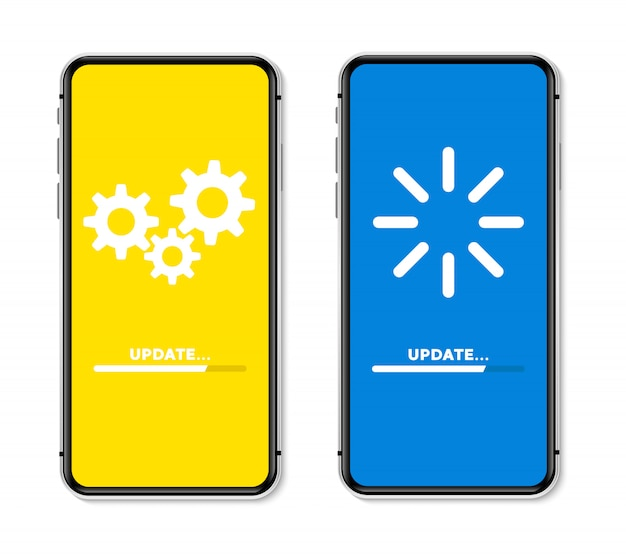 Zaktualizuj proces ładowania koncepcji na ekranie telefonu. ilustracja.