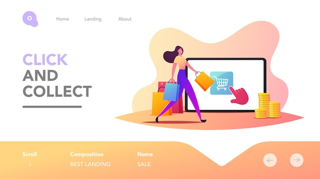 Zakup jednym kliknięciem, szablon strony docelowej zakupów online. drobna postać kobiecego klienta spacerująca z torbą w pobliżu ogromnego tabletu użyj aplikacji do zakupów w cyfrowym sklepie internetowym. ilustracja kreskówka wektor