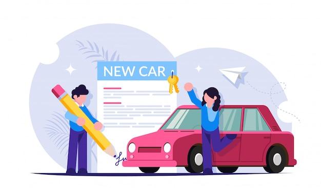 Zakup nowej koncepcji samochodu. proces podpisywania dokumentów i przekazania samochodu. ludzie w salonie samochodowym.