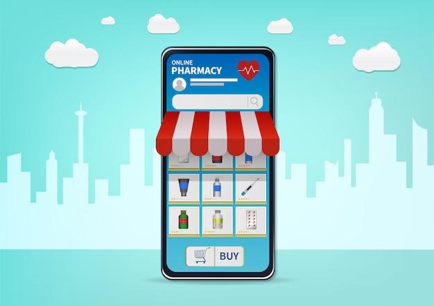 Zakupy apteka internetowa na stronie internetowej lub aplikacji mobilnej.