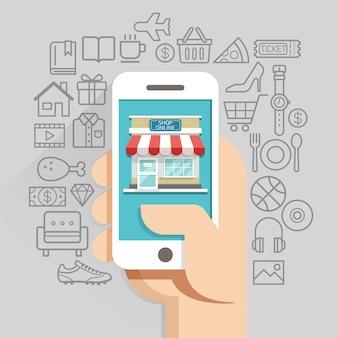 Zakupy biznes online koncepcyjny płaski. ilustracji wektorowych.