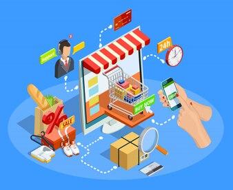 Zakupy E-commerce Concept Isometric Poster