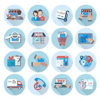Zakupy e-commerce icon flat
