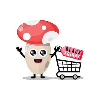 Zakupy grzybów czarny piątek uroczy maskotka znaków